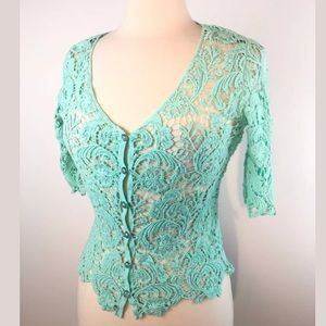Say what blue lace cardigan women's size small